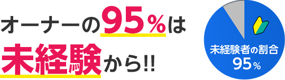 オーナーの90%は未経験から!! 活躍中の先輩の殆ども、未経験からサポートを受けて成長しています!
